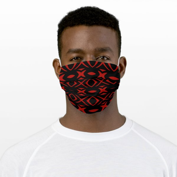 Bold Black and Red Pattern Cloth Face Mask