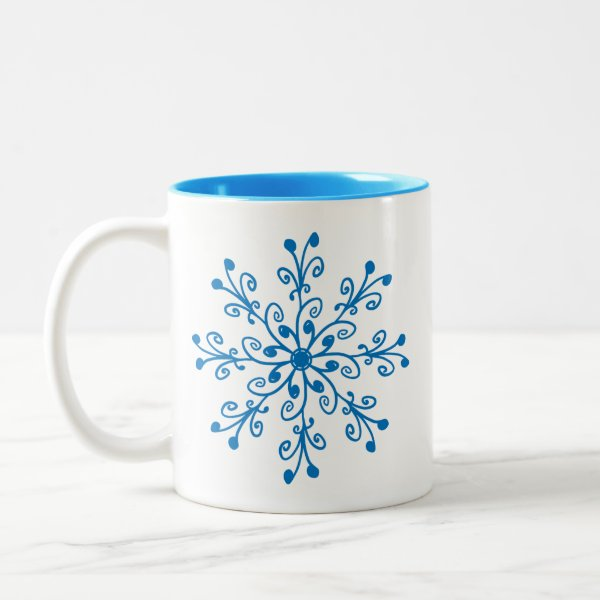Bright Blue Whimsical Hand-drawn Floral Pattern Two-Tone Coffee Mug