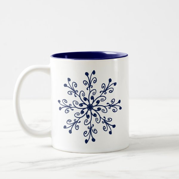 Dark Blue Whimsical Hand-drawn Floral Pattern Two-Tone Coffee Mug