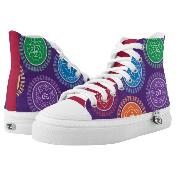 Multi-colored Chakras on Purple High-Top Sneakers