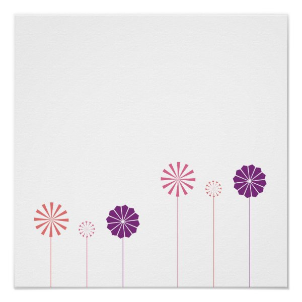 Pink and Purple Pinwheels on White Poster