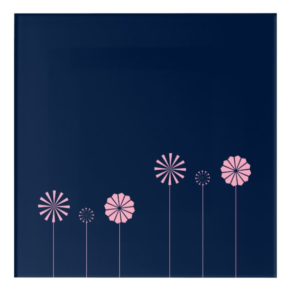 Pink Pinwheels on Dark Blue Acrylic Print