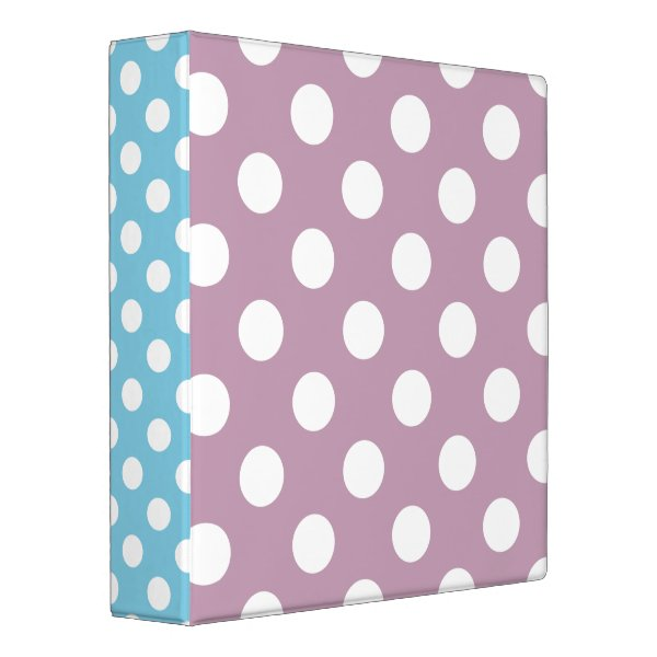 Blush Pink and Pastel Blue with White Polka Dots 3 Ring Binder