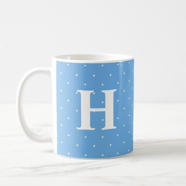 Cute blue mug with white polka dots and initial