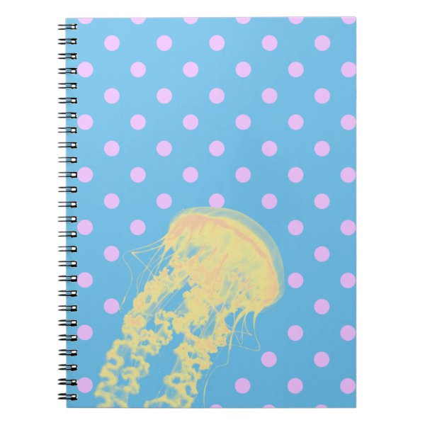 Cute Jellyfish with Fun Pink Polka Dots Notebook