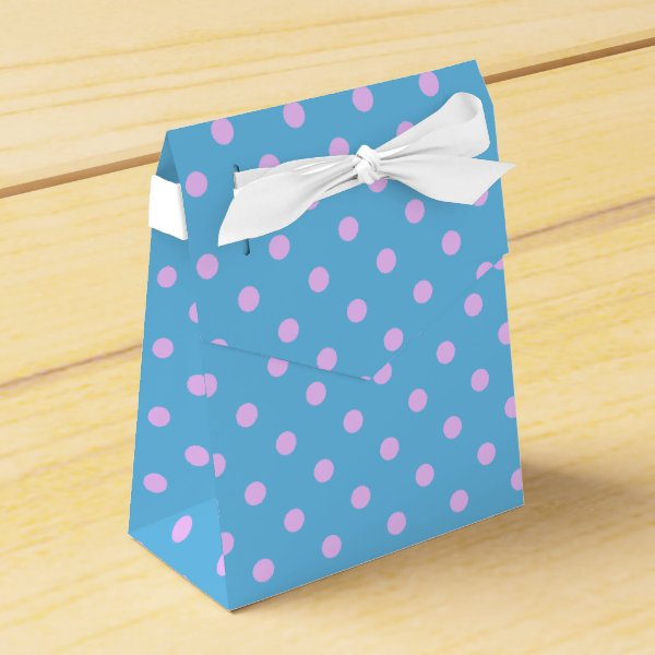 Cute Pastel blue with Pink Polka Dots Favor Box