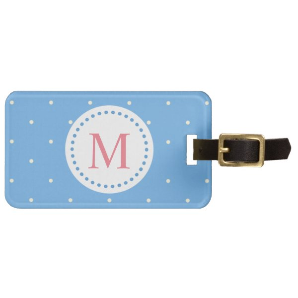 Cute Pastel Blue with Small White Polka Dots Luggage Tag