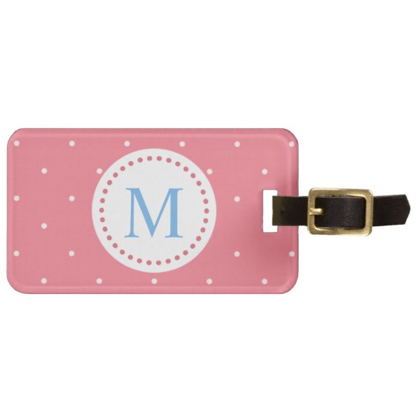 Cute Pastel Pink with Small White Polka Dots Luggage Tag