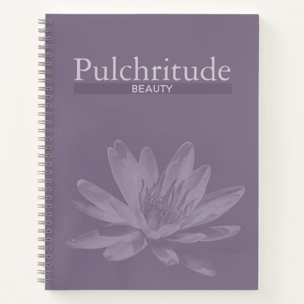 Elegant Purple Notebook with Water Lily Flower