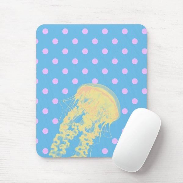 Jellyfish in a Sea of Cute Pink Polka Dots Mouse Pad