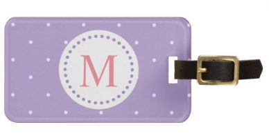 Pastel Purple with Small White Polka Dots Luggage Tag