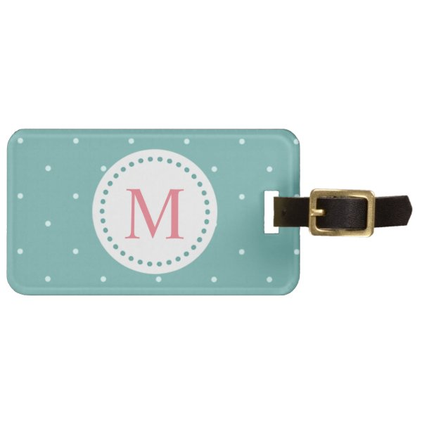Soft Pastel Green with Cute White Polka Dots Luggage Tag